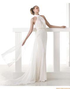 2015 Besondere Schlichte Moderne Brautkleider aus Chiffon mit Schleppe