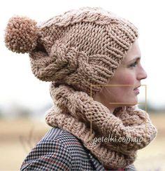 Снуд и шапочка с помпоном. Описание вязания, схемы