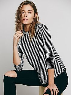 We The Free Mod Stripe Tee | Striped mock neck tee with three quarter sleeves. Back features partial buttondown placket with open surplice bottom. Slightly swingy silhouette.  *We The Free  *We The Free brings us back to our down-to-earth, All-American roots, made mostly with casual cottons that have a lightly distressed and perfectly worn in feel.