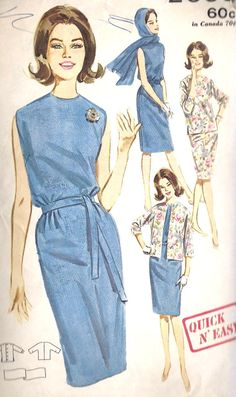 1960s Misses Summer Quick and Easy Sheath Dress, Jacket and Scarf Vintage Sewing Pattern, Butterick 2660 bust 32""