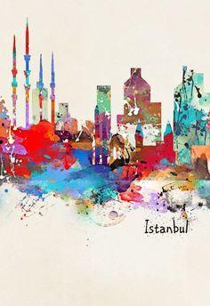 istanbul Wallpaper Backgrounds, Iphone Wallpaper, Turkish Design, Istanbul Turkey, Painting Patterns, Islamic Art, Illustration Art, Illustrations, Travel Posters