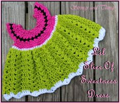 Crochet Supernova: Lil Slice Of Sweetness Dress ~FREE PATTERN~ DRESS IS A MONTH SIZE, but add length to skirt, would still fit a larger child . chest as is = (its stretchy so give or take); honestly it could go all up to a 21 or 22 . Crochet Toddler, Crochet Bebe, Baby Girl Crochet, Crochet Baby Clothes, Crochet For Kids, Free Crochet, Knit Crochet, Booties Crochet, Crochet Dresses