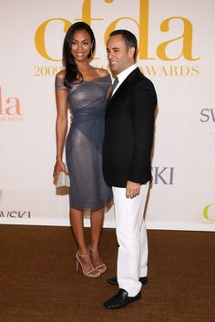 Actress Zoe Saldana and designer Francisco Costa attend the 2009 CFDA Fashion Awards