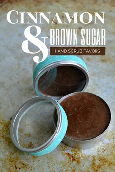 Cinnamon & Brown Sugar Coconut Oil Hand Scrub - Mad in Crafts It's an awesome idea for wedding or shower favors!