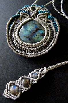 Macrame necklace labradorite macrame pendant by Mediterrasian