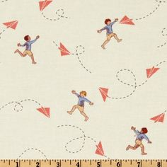 Michael Miller Children at Play Chasing Airplanes Cream $8.98/yd ..love this whole vintage-y line of fabrics. and apparently i love michael miller designs in general.