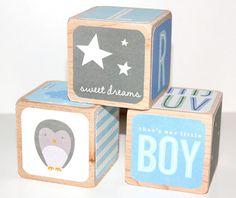 Children's Wooden Baby Blocks  Shabby Chic by Nurserytimeblocks