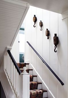 Unique Staircase with Hooked Decor Cottage Week Beach Design Ideas
