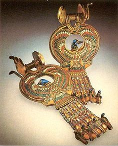 "Tutankhamun's Gold cloisonne earrings ~ Egypt (18th dynasty) ~ Miks' Pics ""Acnient Egypt"" board @ http://www.pinterest.com/msmgish/ancient-egypt/"
