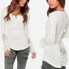 Long Sleeve V-neck Cotton Top