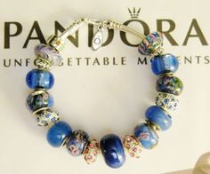 NEW WOMAN'S 7.9 AUTHENTIC PANDORA BRACELET LOBSTER CLAW PINK & BLUE MURANO .925 #Pandora #European