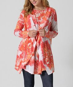 Coral & White Floral Sleeveless Tunic & Open Cardigan - Plus #zulily…