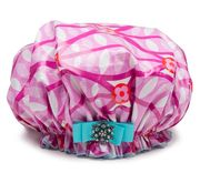 Splash O Raspberry Shower Cap  ~ Save 10% NOW with Coupon code PIN10 http://bluegiraffeboutique.com/categories/accessories/shower-caps-spa-hair-bands.html