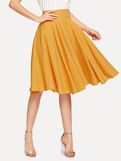 To find out about the High Rise Wide Waistband Circle Skirt at SHEIN, part of our latest Skirts ready to shop online today! Stripe Skirt, Pleated Skirt, High Waisted Skirt, Blouse Dress, Dress Skirt, Rockabilly Rock, Circle Skirt Outfits, High Waist Rock, Church Outfits