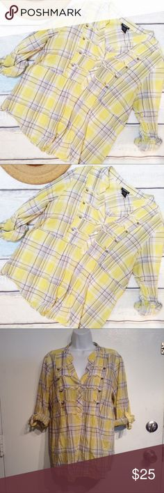 TORRID Plus Size Yellow Plaid Roll Sleeve Top Torrid plus size lightweight yellow plaid top. Babydoll silhouette with roll tab sleeves. Torrid size 1. 100% cotton. No modeling. Smoke free home. I do discount bundles. torrid Tops