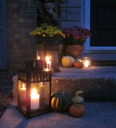 All That Brings Joy: An Autumn Entrance Ikea Lanterns, Candle Lanterns, Candles, Holiday Porch Decorations, Leaves Changing Color, Porch Decorating, Holiday Decorating, Decorating Ideas, Happy Fall Y'all