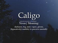 A derivative of caliginous and caliginosities. The Words, Fancy Words, Weird Words, Words To Use, Pretty Words, Beautiful Words, Cool Words, Strange Words, Dark Words