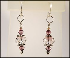 Genuine Swarovski Crystal Antique Pink Antiqued Sterling Silver Earrings by TheDesignsByKat, $19.95