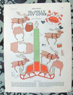 8x11 Child Life 1923 Christmas Magazine Paper Doll Santa Sleigh Raindeer Sled C4 | eBay