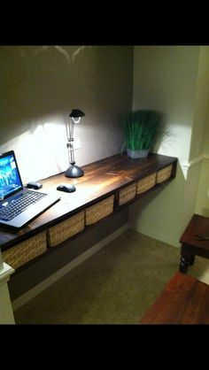 Floating desk - going to try for something like this in Rylands room. Using colored storage bins instead of baskets for his Legos. Home Office Design, Home Office Decor, Home Decor Bedroom, Office Ideas, Bedroom Ideas, Desks For Small Spaces, Small Space Office, Floating Wall Desk, Desk Nook