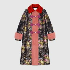 Silk jacquard coat with mink
