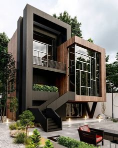 Stunning Villa Design & Visualize by Architecture Building Design, Home Building Design, Modern Architecture House, Modern Houses, Black Architecture, Contemporary Houses, Container Architecture, Concept Architecture, Sustainable Architecture
