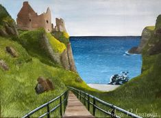 Dunluce Castle painting on canvas made by me :) Irish Landscape, Landscape Art, Landscape Paintings, Castle Painting, Filming Locations, Cool Art, Golf Courses, Original Paintings, Scenery