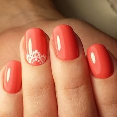 Accurate nails Cool nails Everyday nails Manicure by summer dress Nails ideas 2016 ring finger nails Romantic nails Spring nail art Nail Art Design Gallery, New Nail Art Design, Best Nail Art Designs, Simple Nail Designs, Nail Designs Spring, Nails Design, Coral Nails With Design, Awesome Designs, Pretty Designs