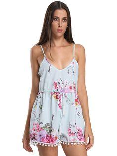 668be9b60fc2 Choies Sexy Women Light Blue Floral Print Pom Poms V Neck Summer Romper  Playsuit