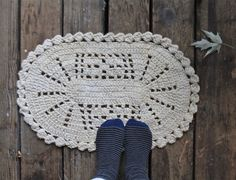 Vintage Cotton Crochet Rug from ethanollie on etsy