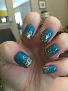DND gel nail polish in Tropical Teal with copper glitter ombré #nails #nailedit #gelnails