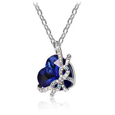 Heart Bow Crystal Necklace - Ashley Jewels - 1