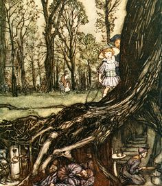 Art by Arthur Rackham (1910) from the book, PETER PAN IN KENSINGTON GARDENS.