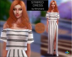 Sims 4 CC's - The Best: Striped Maxi Dress by Rimshardshop Sims 4 Mm, My Sims, Los Sims 4 Mods, Sims 4 Teen, Sims4 Clothes, Sims 4 Dresses, Sims 4 Characters, Sims 4 Update, Sims 4 Cc Finds