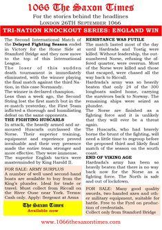 For the full report behind these headlines and all the reports, read 1066 The Saxon Times. www.1066haroldsway.co.uk #thesaxontimes #davidclarke # historywalkstalksandbooks #1066 #history #tes #ks2, ks3 #anglosaxonengland #hardrada #york #kingharold #stamfordbridge #waterstones #amazon #britishdesignbritishmade # thebookkeeper Resistance Is Futile, Stamford Bridge, The Headlines, Anglo Saxon, East Sussex, England, York, History, Amazon