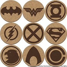 Justice League Cork Coaster Set of or 8 (Batman, Su. Wood Burning Crafts, Wood Burning Art, Wood Crafts, Laser Cutter Ideas, Laser Cutter Projects, Wooden Coasters, Cork Coasters, Laser Cut Wood, Laser Cutting
