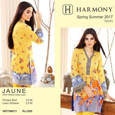 Spring Summer 2017 Vol. 1 - Digital Lawn Prints  100% Premium Cotton Lawn, 3.0 meters Printed Shirt, 2.5 meters Lawn Shalwar Rs. 2290/-  Shop Online http://harmony.com.pk/product/jaune/  #Harmony #HarmonyPakistan #Fashion #Lawn #PimaCotton #Premium #Spring #Summer #Digital #NewArrivals #Jaune