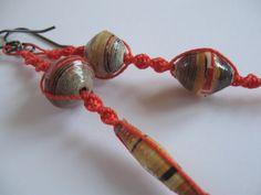 Bohemian Asymmetrical Macrame and Recycled Paper Bead Earrings by Allekram Designs by AllekramDesigns on Etsy