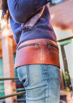 Leather BELT / FANNY PACK. Cowhide vegetal tanned leather belt bag. Leather Hip Pouch waist form. Leather Travel Fanny Pack on Etsy, $76.12