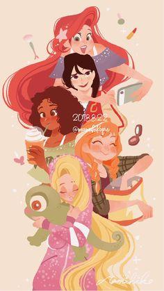 Omg I thought they were the W. like, Ariel is Will, Mulan is Hay Lin, Tiana is Taranee, Anna is Irma and Rapunzel is Cornelia. Disney Pixar, Disney Songs, Disney Fan Art, Disney And Dreamworks, Disney Animation, Disney Movies, Punk Disney, Disney Princess Quotes, Disney Princess Drawings