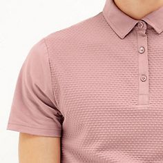 Pink dotty textured polo shirt