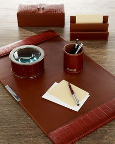 Home Office, Ralph Lauren Brown Crocodile Leather Desk Set, so glamorous, more beautiful inspiring luxury designer furniture, lighting and home decor accents to enjoy pin and share at InStyle Decor Beverly Hills enjoy & happy pinning