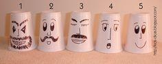 Material Necessário    6 copos plásticos (1 para cada personagem)  Canetinha de retroprojetor (preta e vermelha)  Garrafa plástica de água ...