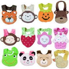 cute cartoon characters baby bibs - tiger, monkey, pumpkin, deer, strawberry, flower, cupcake, frog, panda, duck