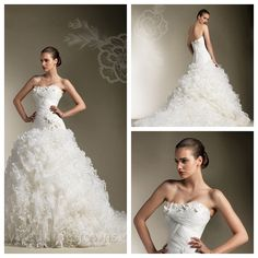 Sweetheart Flattering Wedding Dress with Ball Gown Organza Ruffles Lace Skirt