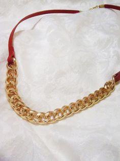 Garnet and Gold modern necklace - garnet leather strap with chunky gold necklace section - modern statement piece - FSU football - Seminoles #FSU #FloridaState #Seminole #nolelife #football #garnetgold