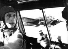 View from cockpit of Heinkel He 111 of Kampfgeschwader 76