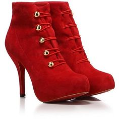 Free shipping suede button high heel red sole boot bootie-in Boots... ❤ liked on Polyvore