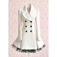Cappotto da donna doppiopetto elegante bianco