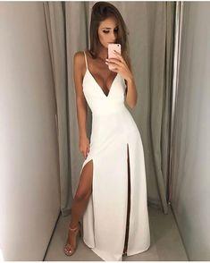 White prom dress - V Neck White Maxi Dress with Slits Simple Prom Dress – White prom dress Chiffon Evening Dresses, Cheap Evening Dresses, Backless Prom Dresses, White Maxi Dresses, Mermaid Prom Dresses, Formal Dresses, Formal Prom, Ball Dresses, Long Dresses